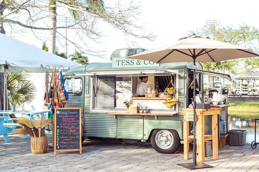The adorable, little, green, 1975 Citroën that was completely restored to serve as Farm Stand's food truck.