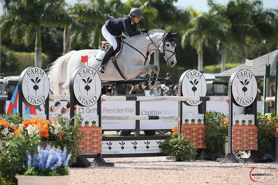 The Farm Stand jump at the Palm Beach International Equestrian Center, Wellington FL. Photo by Sportfot of Joanna Wolffer competing at Winter Equestrian Festival Week 2 (photo courtesy of Farm Stand).