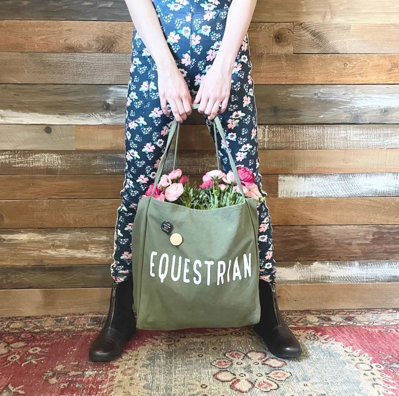 Floral breeches and Equestrian bag by Pony Macaroni.