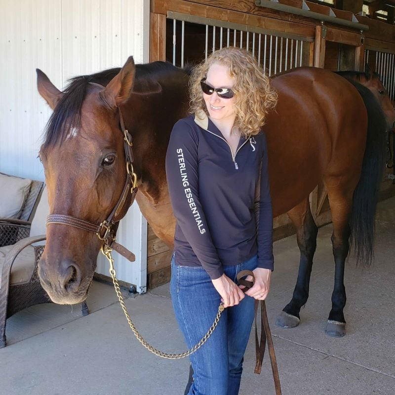 Sterling Essentials founder, Teal Shoop, with her horse.