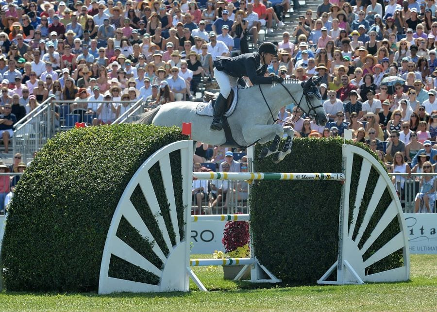 McLain Ward and HH Gigi's Girl competing in the $300,000  Hampton Classic Grand Prix presented by Douglas Elliman in 2018, winning this event for the seventh time 20 years after winning it the first time. Photo by Shawn McMillen Photography.