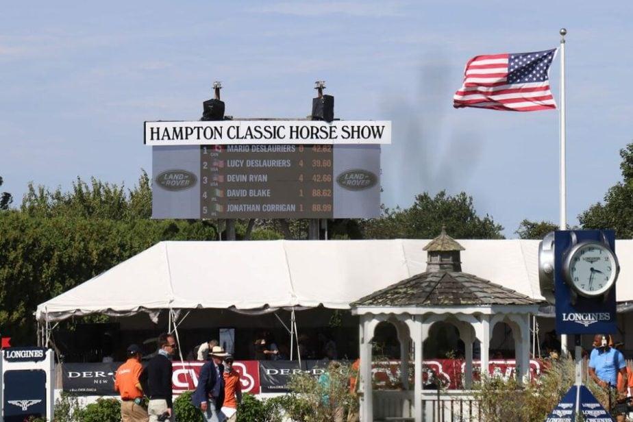 The final score for Sunday's Hampton Classic $300,000 DOHA.INC Grand Prix, 2019. Photo by EQuine AMerica.