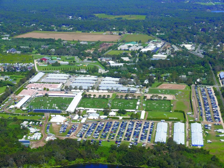 Aerial view of the show grounds years ago. Photo courtesy of the Hampton Classic Horse Show.