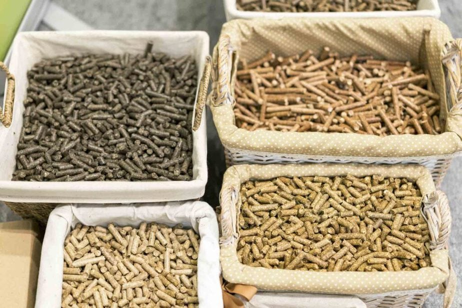 Baskets of different kinds of horse feed.